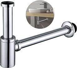 Homelody Sifón de Baño 34cm G1-1/4 Latón Hecho de Latón Inoxidable Resistente a Corrosión Fácil de Limpiar Sifón de Desagüe para Baño