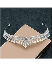 LYM Accesorios para el Festival de la Corona de Boda Circón Rhinestone Perlas de Cristal Diadema Boda Gorros Accesorios para el Cabello de niña