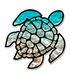 Sea Turtle Beach Ocean - 5' Vinyl Sticker - for Car Laptop I-Pad - Waterproof Decal