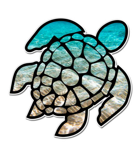 Sea Turtle Beach Ocean - 3' Vinyl Sticker - for Car Laptop I-Pad Phone Helmet Hard Hat - Waterproof Decal