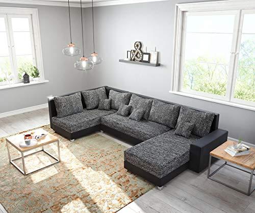 DELIFE Couch Panama Schwarz Ottomane Links Longchair rechts Wohnlandschaft modular