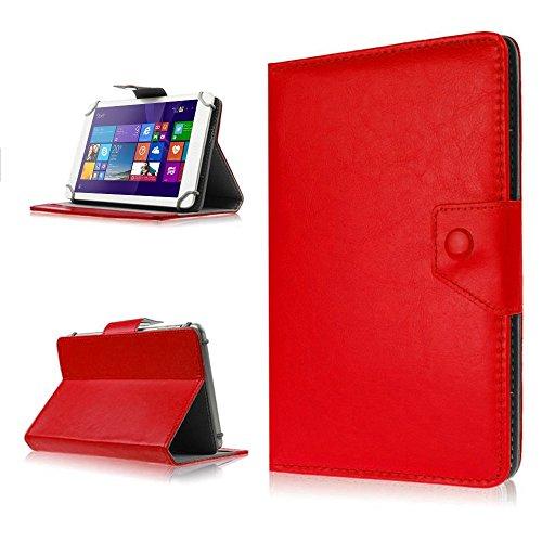 NAUC® Robuste Tablet Schutzhülle für Odys Connect 7 Pro aus hochwertigem Kunstleder Tasche Hülle Standfunktion kombiniert Schutz & Design in 9 verschiedenen Farben Cover Hülle Universal Schutzhülle Modellauswahl Farbauswahl, Farben:Rot