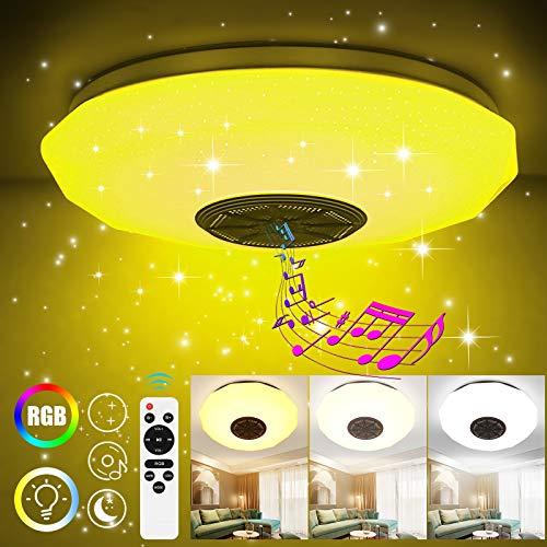 Miouldram 36W Dimmbare LED Deckenleuchten, Dimmende intelligente Fernbedienung mit 4.0 Bluetooth-Lautsprecher-Smartphone-App und dimmbare, RGB Farbtemperatur, einstellbar für zu Hause 30CM
