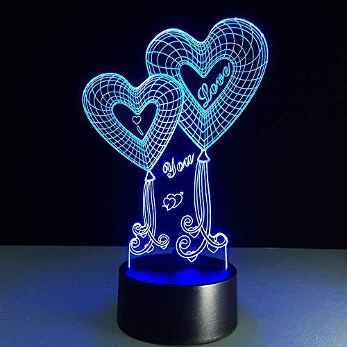 LED 3D Ilusión LED Lámpara de Escritorio Luz de ilusión 3D para sala de estar, cama, bar, regalo juguetes para niños y niñas Con interfaz USB, cambio de color colorido