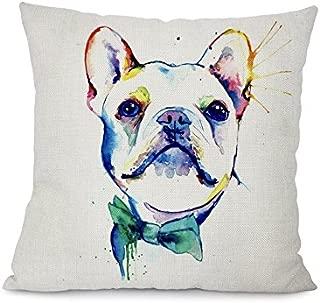 Little Cloud Designs Altitude Boutique Dog Art Pillow Cover (White Bulldog Bowtie), Decorative Pillow Cases