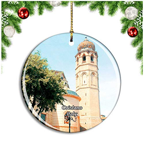 Weekino Oristano Italy Cattedrale di Santa Maria Assunta Christmas Ornament Xmas Tree Decoration Hanging Pendant Travel Souvenir Collection Double Sided Porcelain 2.85 Inch