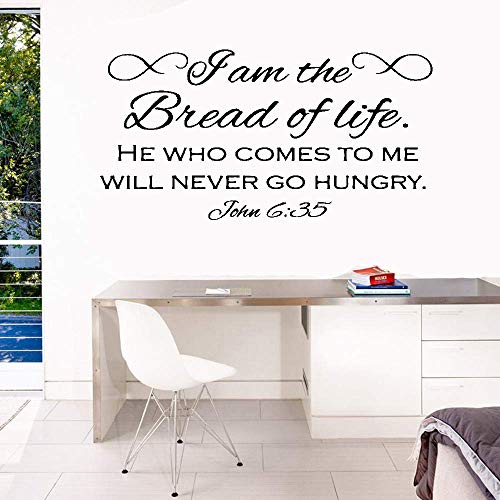 Removable Vinyl Wall Stickers Act Mural Decal Art Home Decor Wall Sticker Decals I Am The Bread of Life He Who Comes to Me Will Never Go Hungry John 6:35 Inspirational Quote Motivational