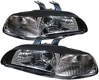 For 92-95 Honda Civic 4 Door 1 Piece Black Pair Headlights Headlamps Turn Signal Reflector