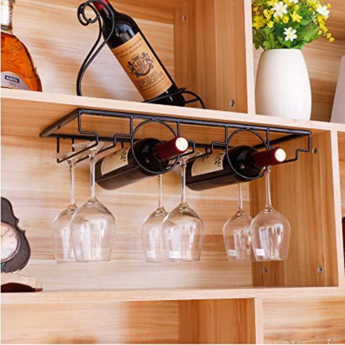 Soporte para botella de vino colgante para copas de champán, cristal, metal, para decoración de pared, estante organizador de vino (color: negro, 2 agujeros)