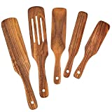Wooden Spurtle Set, Spurtles Kitchen Tools As Seen on TV, Wooden Spatula and Spurtle Set, Teak Wood Heat Resistant & Nonstick Wooden Spoons for Cooking, Spurtle for Stirring, Mixing, Serving(5)