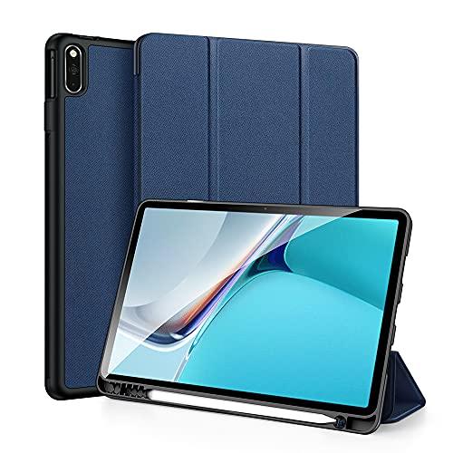 WTING Funda para Huawei Matepad 11 Pulgadas 2021 con Soporte M-Pen, Reposo/Activación Automático, Estuche Inteligente con Soporte Triple Y Contraportada De TPU Suave,Azul