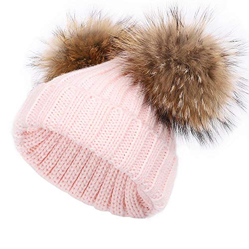 Baby Winter Hat Kids Winter Detachable Double Pompom Hat Toddler Fluffy Ears Warm Knitted Beanie Hat Ski Caps3-10Y Pink