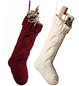 Toes Home 18 Inch Knitted Christmas Stockings Pack 2 Xmas Gift Bags of Burgundy and White