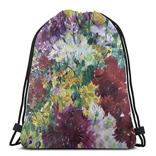 fenrris65 Mochila con cordón de terileno para hombre y mujer (tamaño grande), diseño de crisantemo, color amarillo, violeta y verde