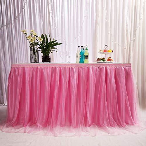 MYMM Jupe de Table, Gaze de Bureau en Tulle Romantique, décoration de Table, Nappe de Tutu Flocon de Neige au Pays des Merveilles, pour Baby Shower, Mariage, fête, Bar (Ondulé-Rose, 3FT)