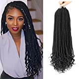 7 Pack Straight Goddess Locs with Curly Ends Faux Locs Crochet Hair Kanekalon Synthetic Braiding Hair Extension 24 Strands/Pack (14Inch, 1B)