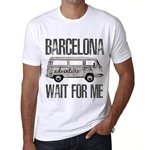 Hombre Camiseta Vintage T-Shirt Gráfico Barcelona Wait For Me Blanco