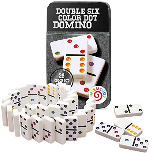 Dominoes Set 28 Double Six White Ivory Tiles  Classic Number Domino inTemenos in Black Metal Case