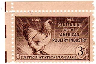 Postage Stamps United States. One Single 3 Cents Sepia, Light Brahma Rooster, Poultry Industry Issue, Stamp Dated 1948, Scott #968.