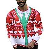routinfly Camisa de Navidad para hombre, manga larga, sudaderas con capucha, estampado de Papá Noel en 3D, con estampado de Papá Noel, blusa divertida Tops Cosplay