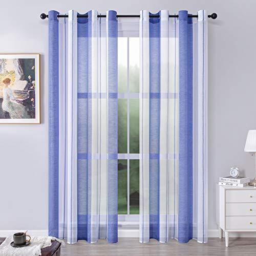 MRTREES Translúcida Cortinas Visillo Rayas de Dormitorio Moderna con Hebilla para Ventanas Voile Sala para Niños Sala Comedor Baño 2 Piezas 140×245cm(An×L) Blanca+Azul Real