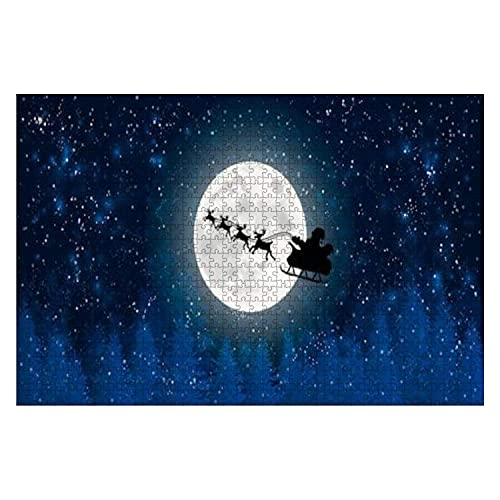 1000 Piece Santa Claus Flying in Sledge with Reindeers Night Sky Over Full Moon Large Piece Jigsaw Puzzles for Adults Educational Toy for Kids Creative Games Entertainment Wooden Puzzles Home Decor