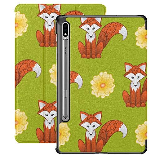 Funda para Galaxy Tab S7 Funda Delgada y Ligera con Soporte para Tableta Samsung Galaxy Tab S7 de 11 Pulgadas Sm-t870 Sm-t875 Sm-t878 2020 Release, Fox Flowers