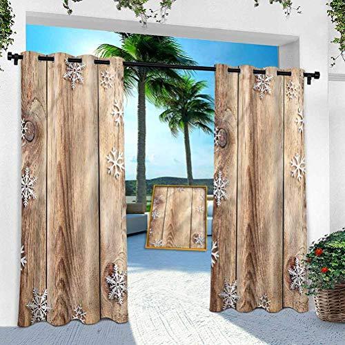 Aishare Store - Cortina para patio al aire libre, navidad, tablón de madera, copos de nieve, 132 x 274 cm, resistente panel interior para porche, balcón, pérgola, toldo de carpa (1 panel)