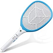 CYOUH Electric Fly Swatter Electronic Mosquito Fly Bugs Swatter Zapper - USB Rechargeable with Bright LED Light - 3 Layers Safety Mesh Protection - 1 Year Warranty