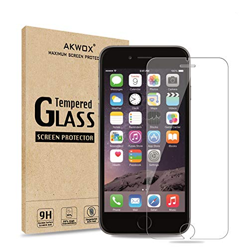 AKWOX (Pack of 2) iPhone 6S Plus Screen Protector, 0.33mm High Definition Clear Tempered Glass Screen Protector for iPhone 6S Plus / 6 Plus - Max Clarity and Touch Accuracy Film