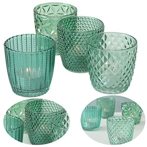 LS-LebenStil 4x Glas Teelichthalter Retro Petrol Türkis 7cm Windlicht-Halter Kerzenständer