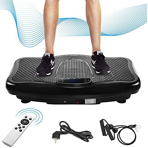 Azkoeesy Vibrationsplatte Vibrationstrainer Profi, 2D Wipp Vibration + Bluetooth inkl. Lautsprecher, Extra große Fläche & Kraftvoller Motor & Trainingsbänder & Fernbedienung