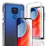 AMENQ Moto G Play Case 2021, Motorola G Play Case with Tempered Glass Screen Protector, Clear Shockproof with TPU Bumper and Hard Protective PC Front Cover for Moto G Play 6.5 inches Phone (Clear)