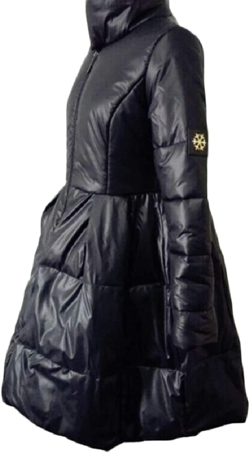 LEISHOP Women's Solid color Stand Collar FrontZip Thick Quilted Down Jacket Coat