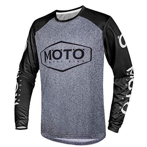 Herren Fahrradtrikot Langärmelig Atmungsaktiv Schnelltrocknend Feuchtigkeitstran Sportierendes T-Shirt,Schwarz,XXL