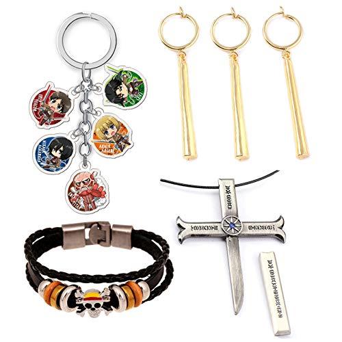 AMA-StarUK36 One Piece Monkey D. Ruffy Piratenarmband Armband, Roronoa Zoro Ohrring, Schlüsselbund, Einteilige Halskette, tolles Geschenk für Anime-Fans