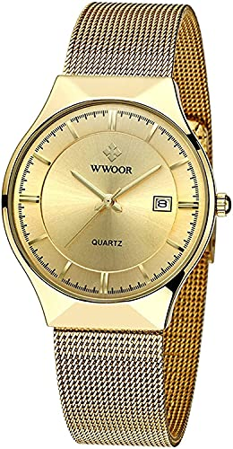 ZFAYFMA Reloj de Moda para Hombres, Reloj de Cuarzo analógico Ultrafino Minimalista de Lujo de Acero Inoxidable de Acero Inoxidable Negocio de Lujo de Lujo Impermeable Gold