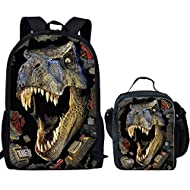 Nopersonality Elementary Kids Cool Dinosaur Backpack with Lunch Bag Snack Lunchbox School Bags Sets ...