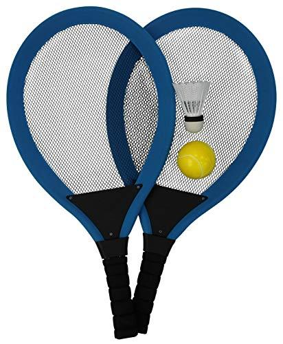 Fornord Riesiges Tennis-Set, Jumbo, weich, Ball-Federball und 2 Schläger, Strandspielzeug (blau)