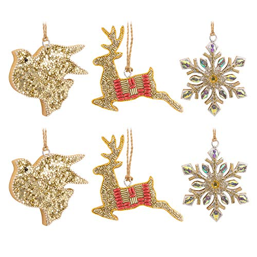 Hallmark Christmas Ornaments, Beaded Gold Reindeer, Dove and Snowflake Holiday Icons, Wood, Set of 6