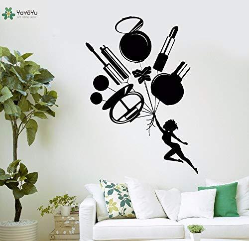 Vinyl muur sticker Lipstick spiegel parfum cosmetische Salon interieur kunstenaar Home Decor Sticker 42x59cm
