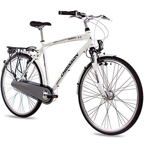 CHRISSON 28 Zoll Herren City Bike - Sereto 3.0 Weiss - Herrenfahrrad mit 7 Gang Shimano Nexus Nabenschaltung, Rücktrittbremse und Nabendynamo, Cityrad mit Suntour Federgabel