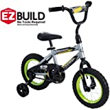 Cool Racing Fun,Comfortable and Easy to Assemble Huffy 12' Rock It Boys' EZ Build Bike,Comes with an Easy-to-Use Coaster Brake and Wide Training Wheels,Silver
