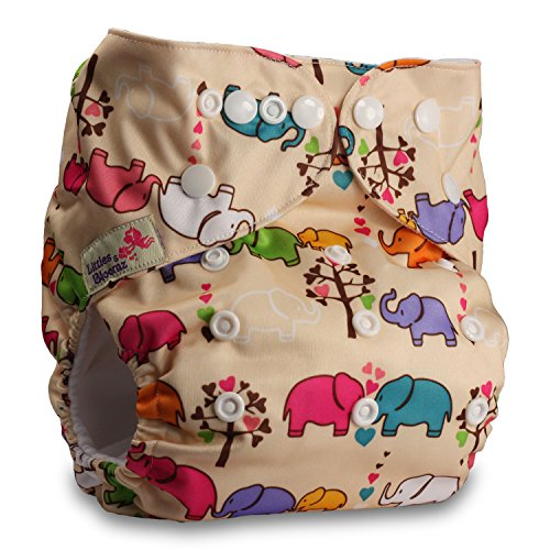 Littles & Bloomz, Reusable Pocket Cloth Nappy, Fastener: Popper, Set of 1, Pattern 49, with 1 Microfibre Insert