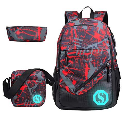JiaYou Boy Girl Unisex 20L Fashion School Bag Backpack Bookbag with Florescent Mark 3 Sets/2 Sets (20L, Color G 3Sets)
