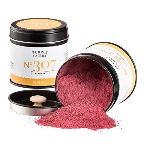 Rimoco N°307 BIO PURPLE CURRY gemahlen - Fruchtige & intensive Curry Gewürzmischung mit echten Hibiskusblüten | Bio Anbau (DE-ÖKO-022) | 70g in eleganter Gewürzdose mit Aromadeckel