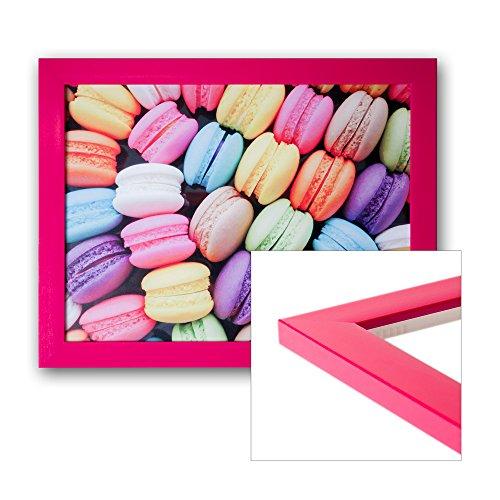 Bilderrahmen DIN A3 pink/rosa glanz/glossy mit Glasscheibe, Rückwand und Aufhänger für Hoch- und Querformat - alle Standardgrößen -...