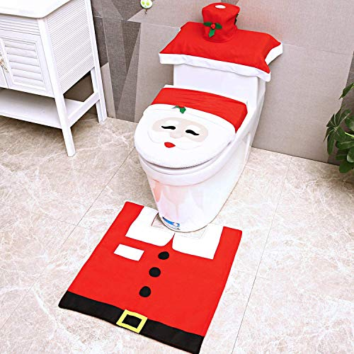 Ohuhu Christmas Toilet Seat Cover and Rug Set, 4 Pieces Santa Claus Toilet Seat, Tank & Toilet Paper Box Cover, for Christmas Decoration Home Bathroom Decor Red