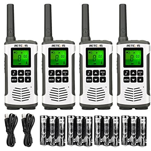 Retevis RT45 Walkie Talkie, Profesional Licencia Libre 16CH walkie talkie,Recargable USB PMR446 VOX LED Linterna Walkie Talkie Set para Escuela Familia Hotel Almacén (4 Piezas)