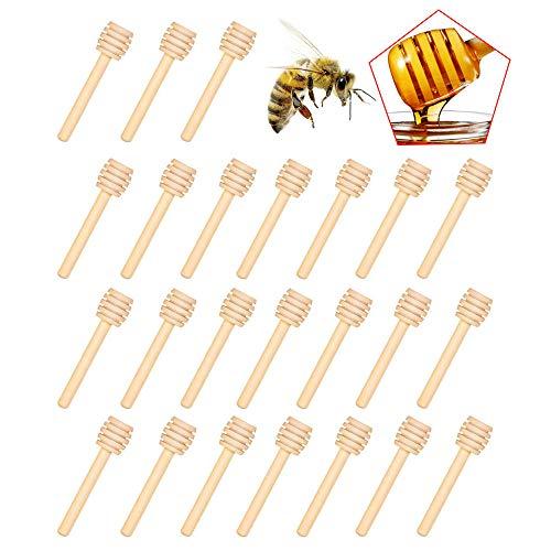 Pequeños palitos de miel de madera Cucharas Mini esparcidor de miel Cucharas de miel de madera de 8 cm para tarros de miel para favores de bautismo de boda de Acción de Gracias (50 cazos de miel)
